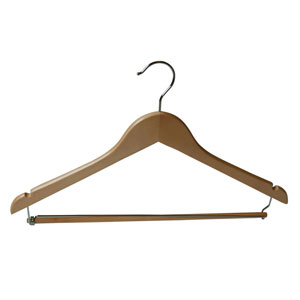 "17"" Flat Wood Hanger with Lock Bar"