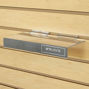 "Molded Slatwall Shelf With Sign Slot - 10""W X 4""D"