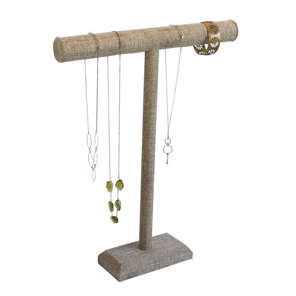 Tall Burlap/Linen T-Bar Necklace Display