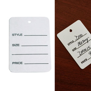 "1-3/4"" x 2-3/4"" White Unstrung Pricing Hang Tag"