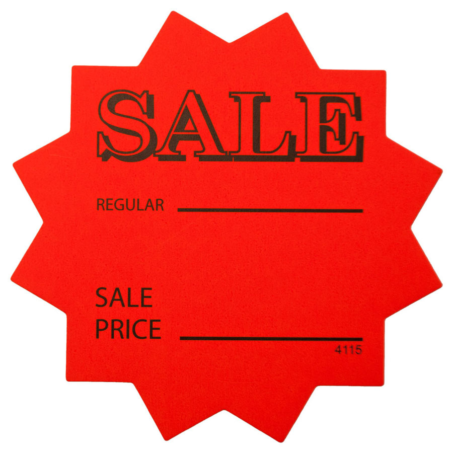 Orange Star Shaped Inchsale Price Inch Retail Cards