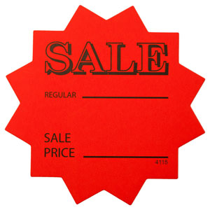"Orange Star Shaped ""Sale Price"" Retail Cards"