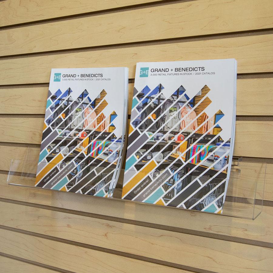 Open end acrylic slatwall j shelf forward tilt retail