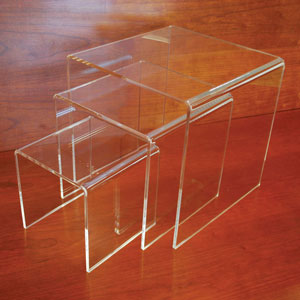 Clear Acrylic Merchandising Riser Set of 3
