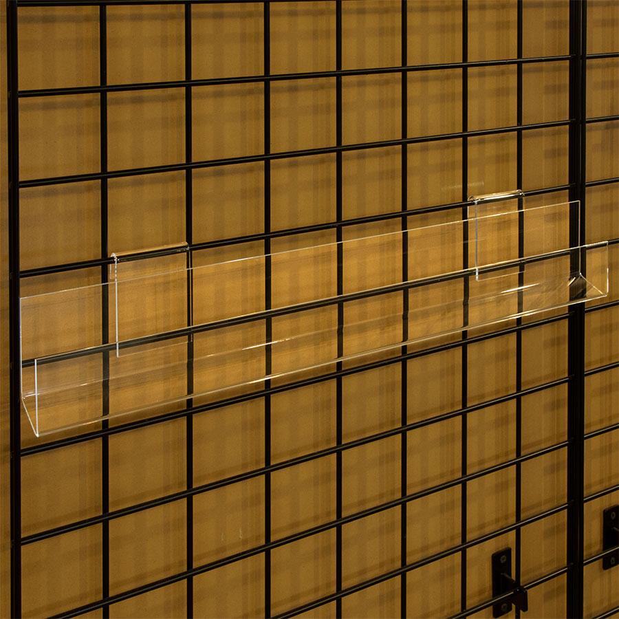 Open ends acrylic j rack shelf for gridwall retail