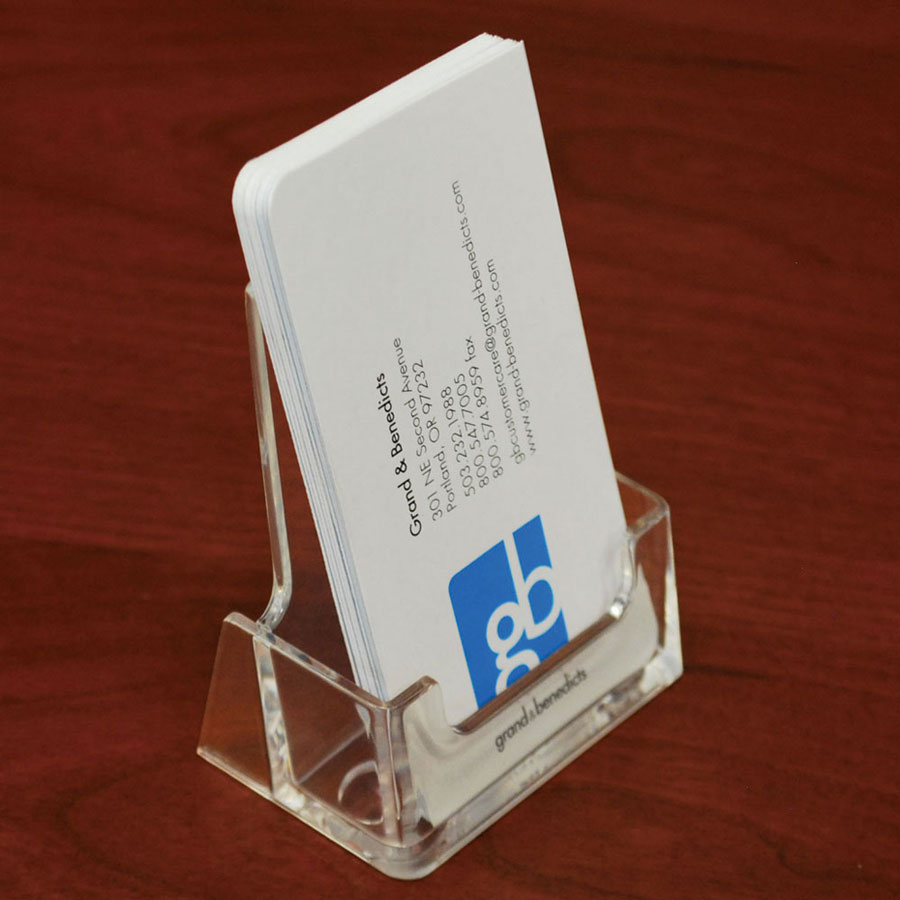 acrylic countertop business card holder verticalportrait - Vertical Business Card Holder