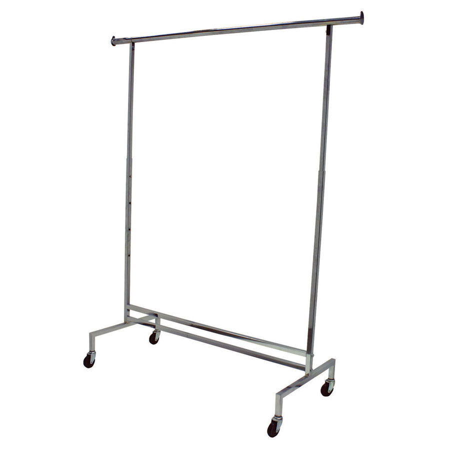 single hangrail chrome rolling garment rack