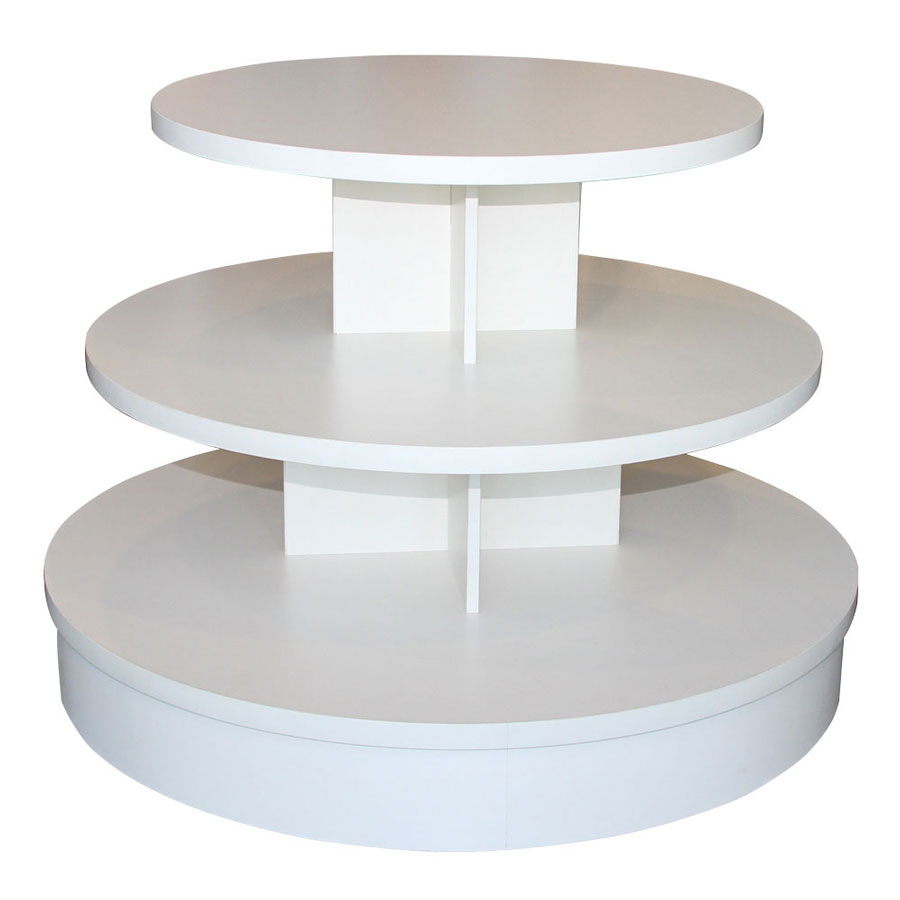 3 Tier White Melamine Round Table