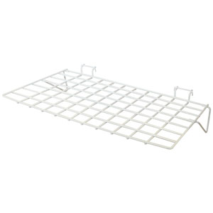 Slatwall Wire Grid Shelf - White