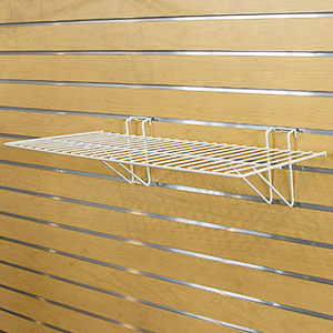 White Slatwall & Gridwall Wire Display Shelf - 24 in. W X 12 in. D