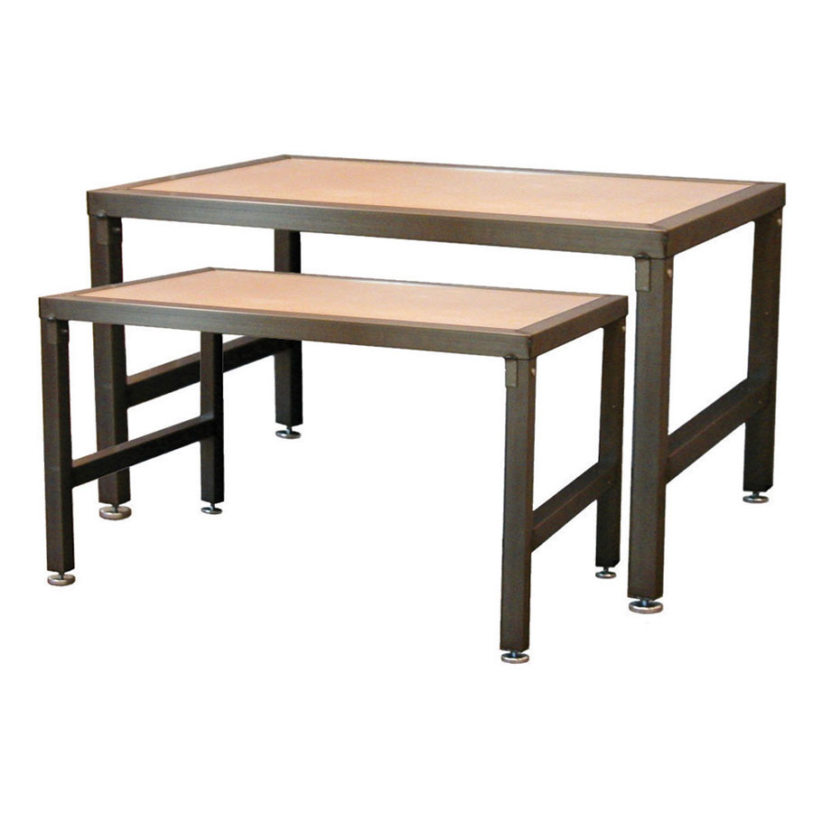 Steel frame nesting display tables retail