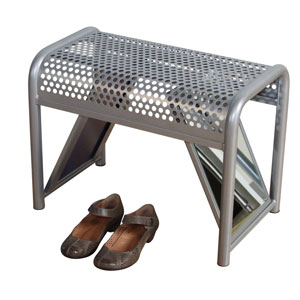 Silver Metal Try-on Shoe Bench With Mirrors