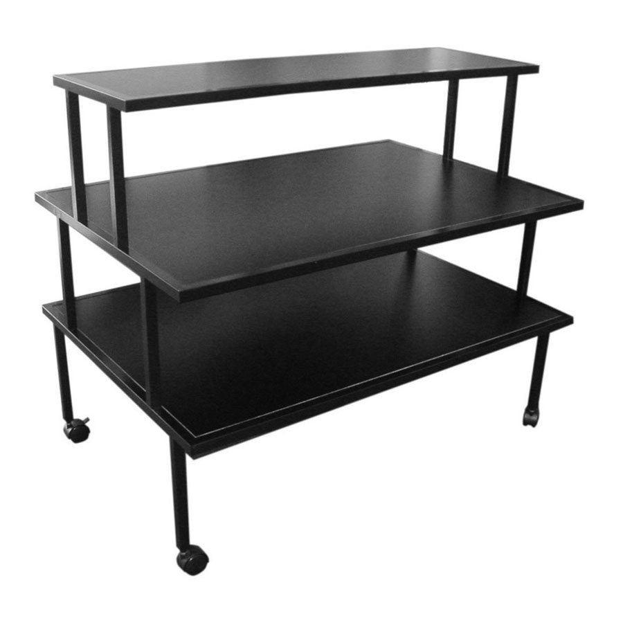 Table Stores: 3-Tier Black Rolling Display Table