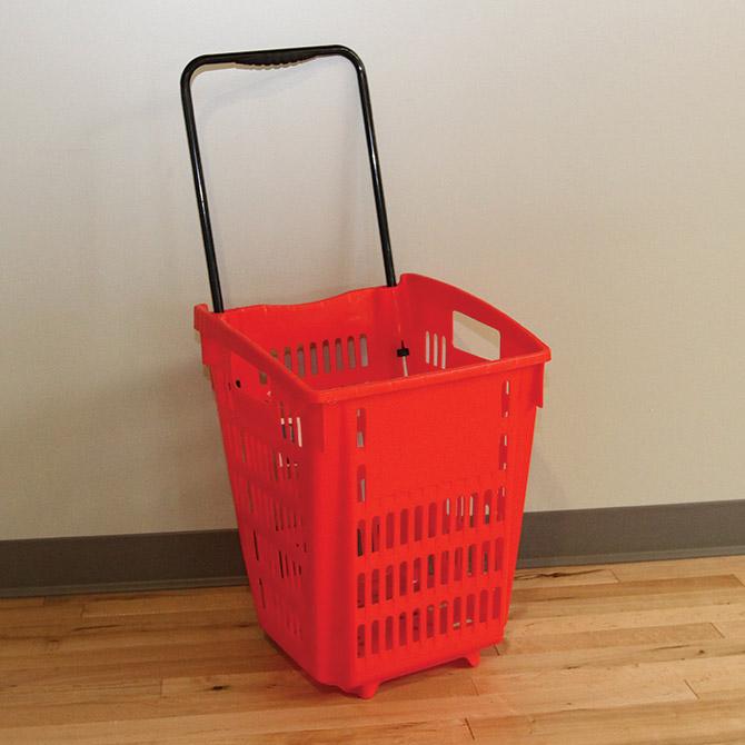 Red Large Rolling Shopping Basket Retail Store Supplies