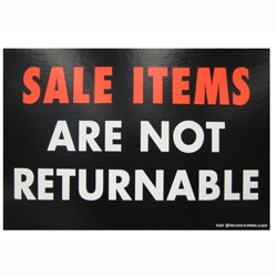 Sale Not Returnable Retail Policy Sign