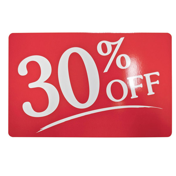 30 off Signs Store Business Signs in Store Signage Plastic Sale Sign Sale 30% Off 13 oz Heavy Duty Vinyl Banner Sign with Metal Grommets, New, Store, Advertising, Flag, (Many Sizes Available) Add 4/4(1).