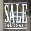 White Static Cling Window Vinyl Sale Sign
