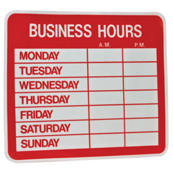 Static Retail Business Hours Sign