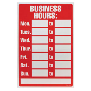Retail Opening Hours Sign