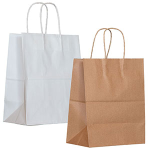 Recycled Kraft and White Paper Shopping Bags