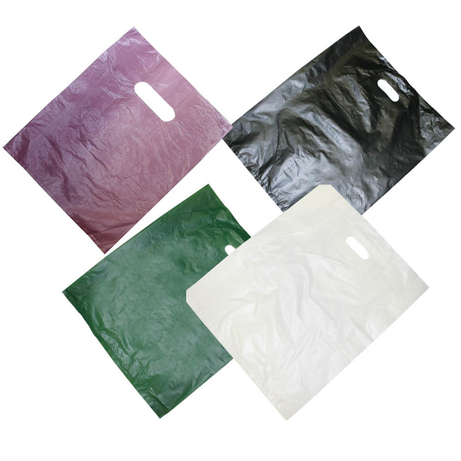 Reinforced Plastic Patch Handle Bags Retail Shopping