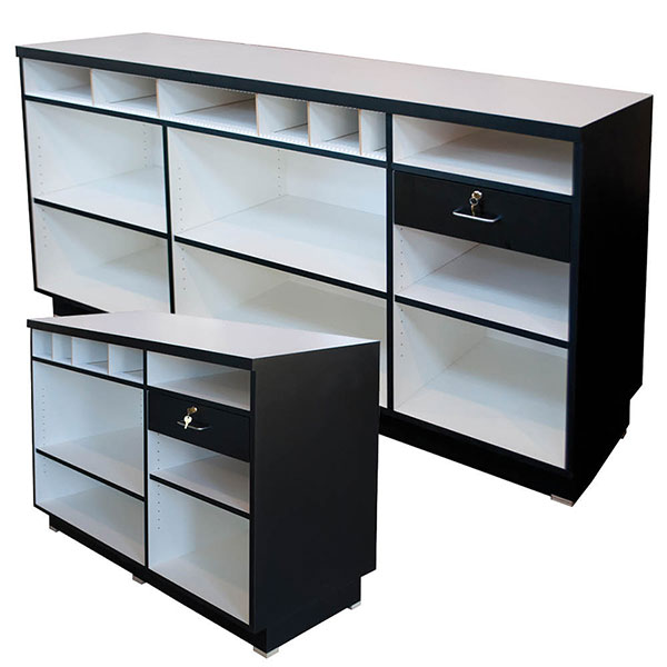 Black Wrap Counter with Cash Drawer