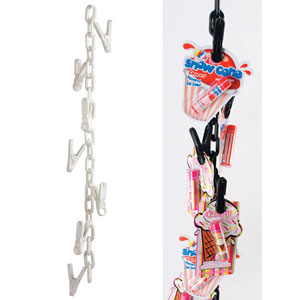 6' Plastic Merchandising Chain with Clips