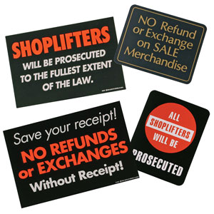 Retail Policy Signs