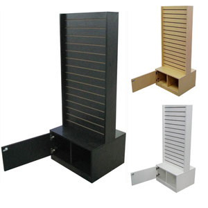 2-Sided Slatwall Tower with Cabinet